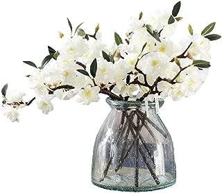 JAROWN 5 Pcs Artificial Silk Cherry Blossom Branch Fake Sakura Plants for Home Crafts Decoration (White)
