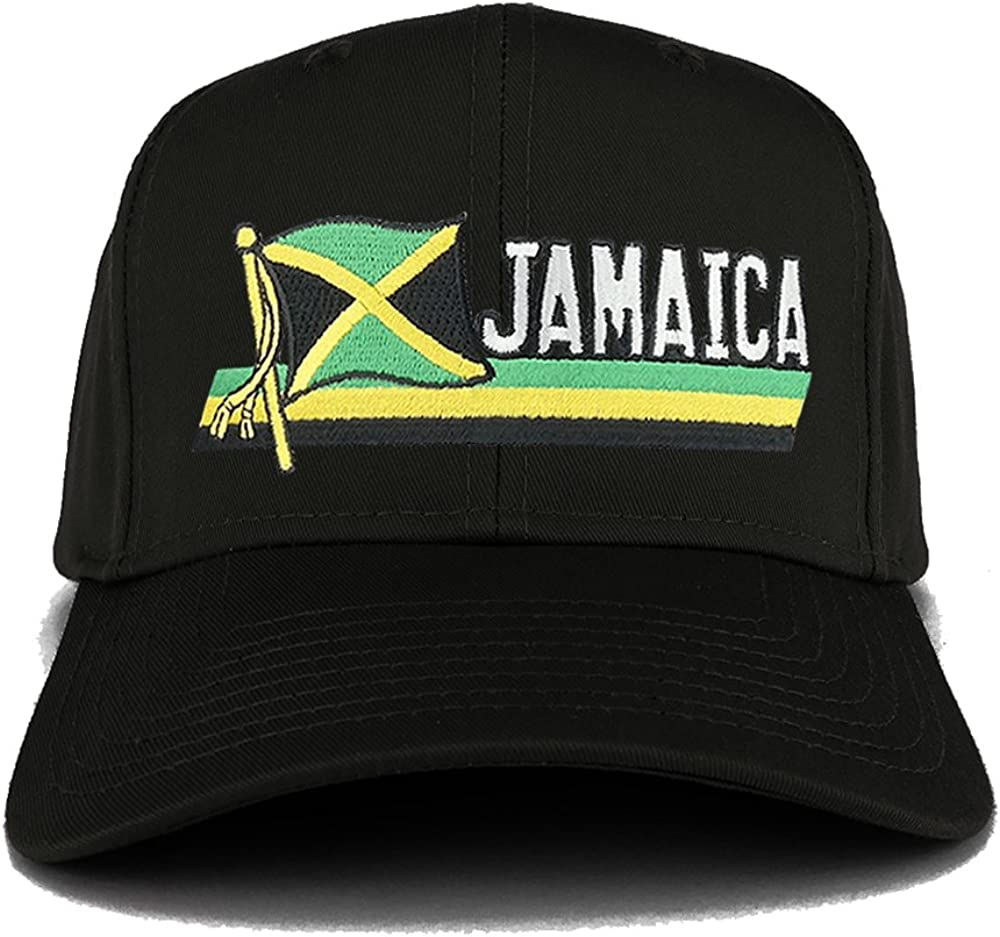 Jamaica Flag and Text Embroidered Cutout Iron on Patch Adjustable Baseball Cap