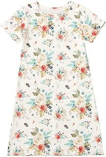 Kids Little Girls Floral Print Dresses Short Sleeve T-Shirt Nightgown Dress