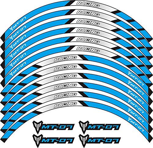 SGYANZLG 12 Tiras Accesorios de Carreras Rueda llanta llanta Decalación Creativa Emblema Motocicleta Pegatina Reflectante Personalizada para fit for Yamaha MT-07 (Color : 240202)