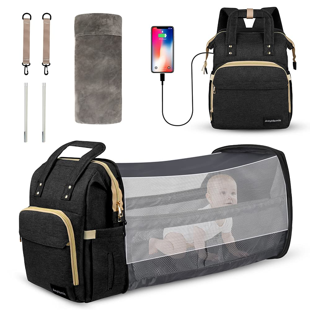 AmyHomie 6 in 1 Diaper Bag Backpack,Baby Diaper Bag with Changing Station USB Port Folding Crib Travel Bassinet,Multipurpose Waterproof Large-Capacity Portable Mommy Bag Backpack