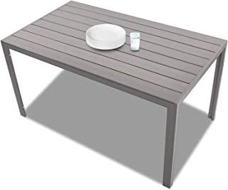"KARMAS PRODUCT Patio Dining Table Outdoor Aluminum Rectangle Table,All Weather Resistant,Size 55.1""L X 31.5""W X 28.3""H,Gray"