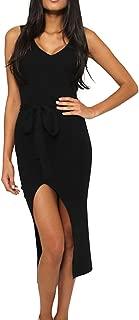 Womens Sexy Sleeveless Deep V-Neck Club Bodycon Knitted Long Midi Dress Summer Maxi