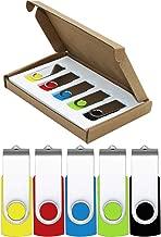 USB Flash Drive 32GB 5 Pack USB 2.0 Thumb Drive Jump Drive Pen Drive Bulk Memory Sticks Zip Drives Swivel Design Yellow/Red/Blue/Green/Black (5 Pcs Mixed Color)