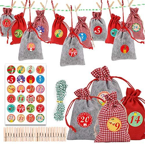 HOWAF 24 Adventskalender zum Befüllen, Weihnachten Geschenksäckchen, Adventskalender Stoffbeutel, mit 24 Zahlen-Aufklebern für Kinder weihnachtskalender zum basteln und Befüllen