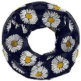 Soul-Cats® Loopschal mit Gänseblümchen-Motiv Halstuch Schal Margeriten, Farbe:dunkelblau
