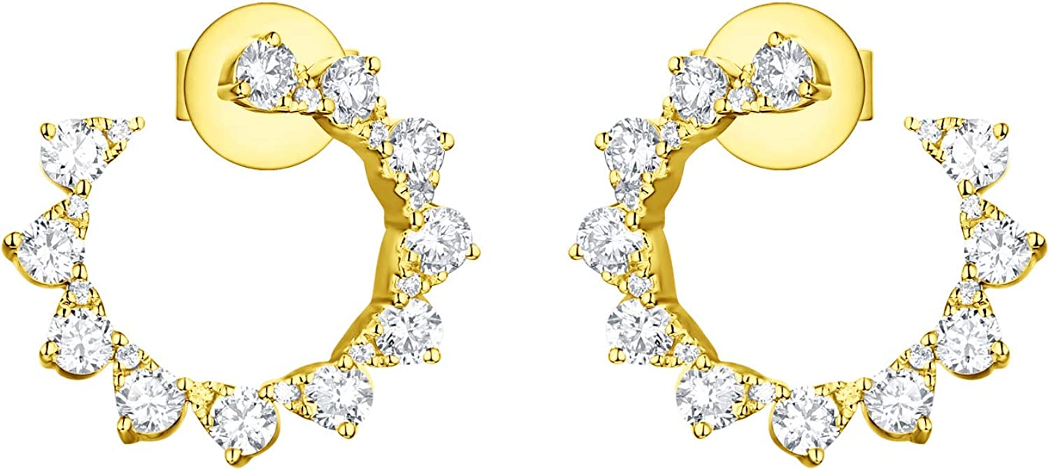 Prism Jewel Wrap Style Earrings With 1.00Ct G-H/I1 Natural White Diamond Stylist Earrings