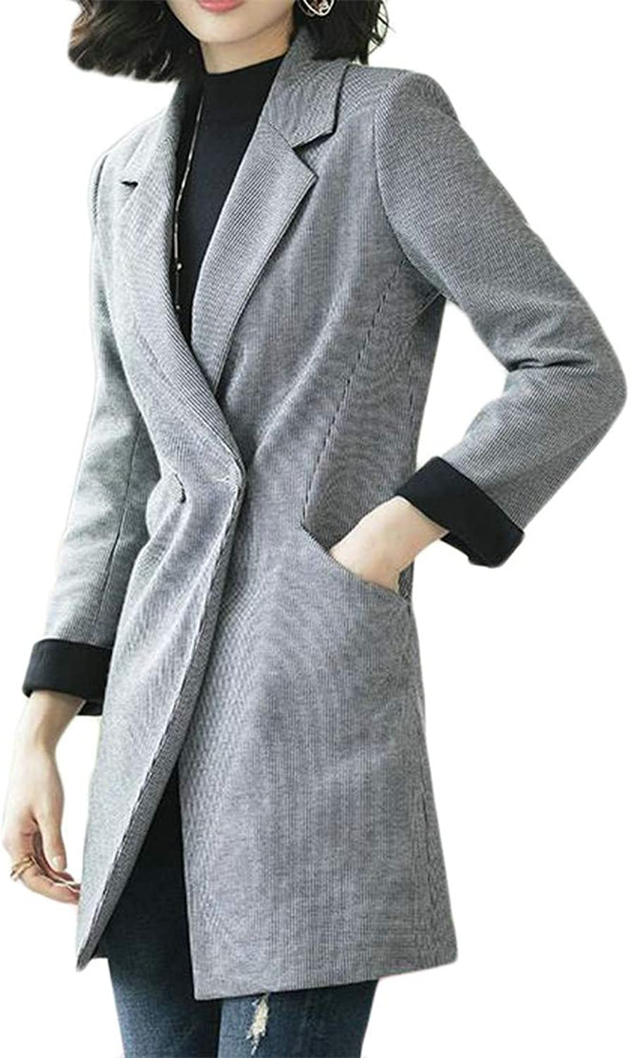 Blyent Women's Lapel Neck Classic Pocket One Button Wool Blend Coat Jacket