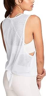 Bestisun Women's Workout Yoga Top Cute Activewear Sports Gym Shirts Tie Knot Mesh Tanks