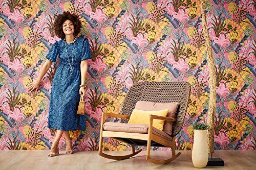 TRENDWALLS Papel pintado de la selva rosa, amarillo, marrón y azul, papel pintado con hojas, diseño tropical, ligeramente brillante, con textura fina