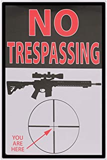 Hotpaint No Trespassing Signs Private Property Home Security Signs Metal Yard Art Tin Signs Rust Free Metal Signs for Garage Man Cave Free You are Here Gun Signs 12x8 Inches