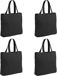 4 Packs Canvas Tote Bag by Dimayar for Crafting Plain Black