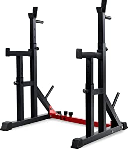 Multifunctional Barbell Rack 600LBS Capacity Barbell Weight Rack Home Gym Fitness Adjustable Squat Rack Weight Lifting Bench Press Push-ups