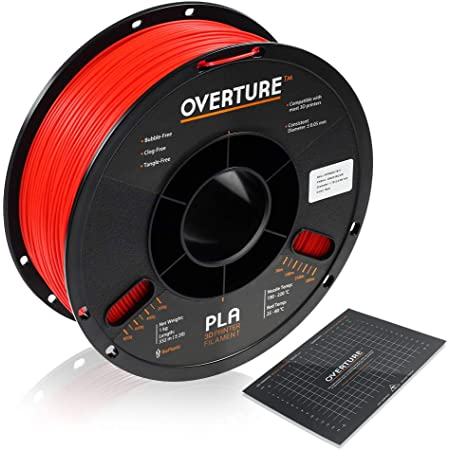 OVERTURE PLA Filament 1.75mm with 3D Build Surface 200mm x 200mm 3D Printer Consumables, 1kg Spool (2.2lbs), Dimensional Accuracy +/- 0.05 mm, Fit Most FDM Printer (Red)