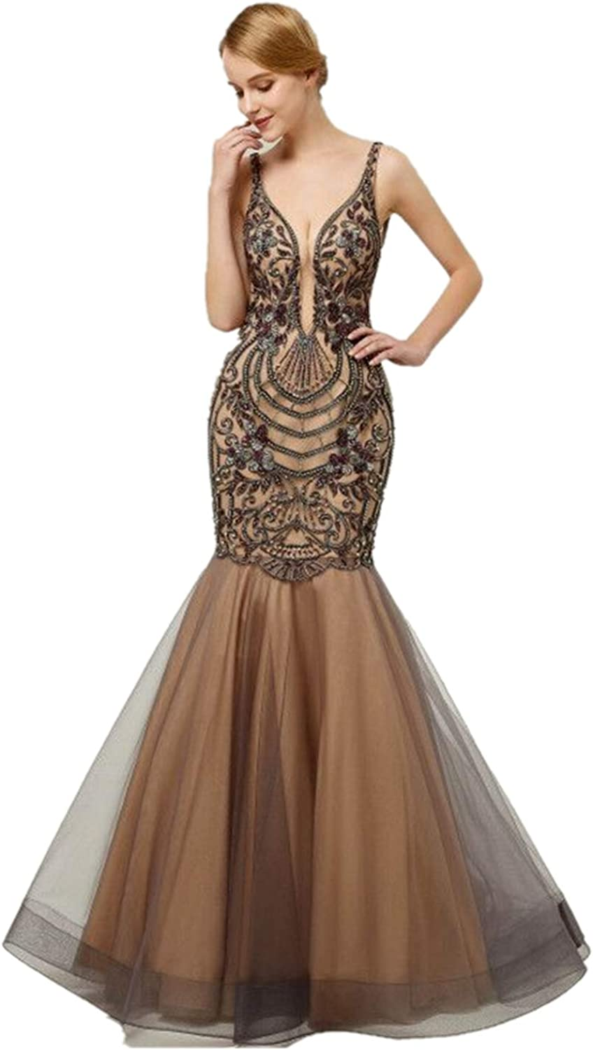 Darcy74Dulles Women's Mermaid Sequins Long Formal Prom Gowns Sexy Beading Evening Dresses