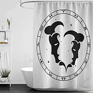 hengshu Zodiac Gemini 3D Printed Shower Curtain Zodiac Wheel with Twelve Signs Abstract Male Portraits with Stars Tattoo Hotel Quality Machine Washable W95 x L72 Inch Black and White