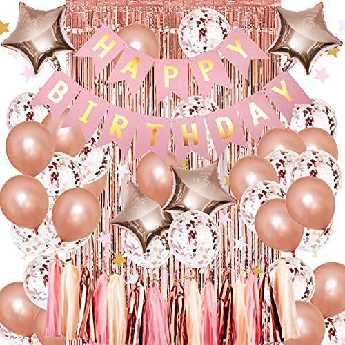 YHLO Rose Gold Birthday Party Decorations,balloons for Birthday Party,bachelorette Party Decorations for Birthday Wedding Engagement Bridal Shower Bachelorette Holiday