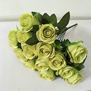 Feefine Artificial Flowers,Fake Rose Peony Silk Flowers 18 Heads Peony Wedding Bouquet Flower Arrangement for Home Decor Party Floral Centerpieces Decoration (green)
