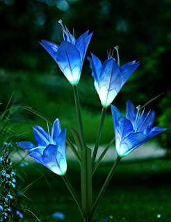 Bright Zeal 1-Bundle Solar Lily Flower Light (Blue) Garden Decoration Outdoor - LED Color Changing Solar Stake Lights Waterproof - Patio Stake Light Solar Powered - Solar Artificial Lily Flower Light