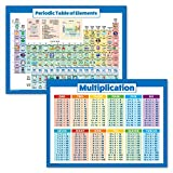 2 Pack - Periodic Table of The Elements & Multiplication Tables Poster Set (Laminated, 18' x 24')