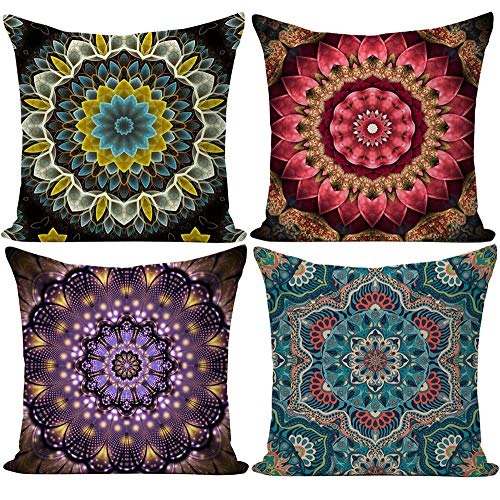 EZVING Fashion Bohemian Pattern Throw Pillow Covers Square Decorative Cushion Case for Sofa Bench Car Bed 18 x 18 Inch Set of 4