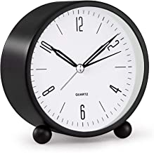 KASTWAVE Analog Alarm Clock, 4 inch Super Silent Non Ticking Small Clock with Night Light, Battery Operated, Simply Desig...
