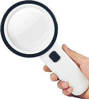 10倍 手持ちルーペ LEDライト付 拡大鏡 虫眼鏡 読書用 宝石鑑定