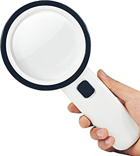 SKYZONAL 10X Handheld Magnifying Glass Magnifier Lens with 12 LEDs + 1UV Money Detector Light for Reading Inspection,Exploring,Hobbies,Identification