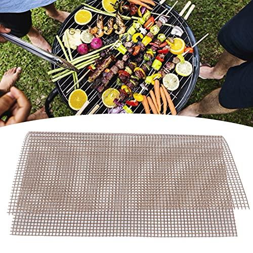 Duokon Alfombrilla para Barbacoa de Rejilla, lámina de Rejilla Antiadherente de Grado alimenticio Alfombrilla de Rejilla Multifuncional para Barbacoa al Aire Libre(Brown 30 * 40cm)