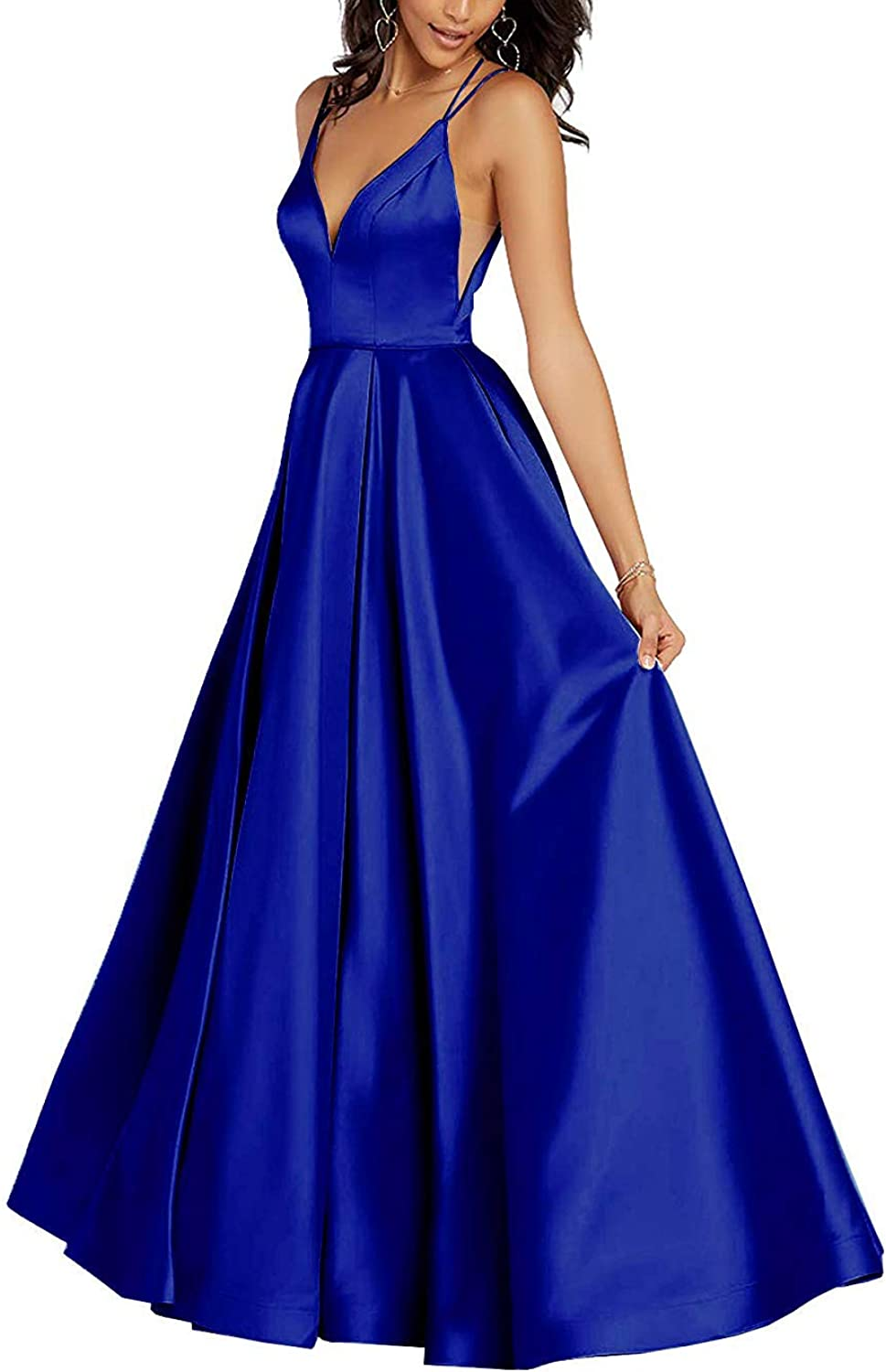 Tmaoomo Satin VNeck Bodice Prom Dresses Long for Women Evening Ball Gowns with Pockets