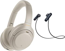 Sony WH-1000XM4 Wireless Noise Canceling Over-Ear Headphones (Silver) with Sony WI-SP500 in-Ear Sports Wireless Headphones...