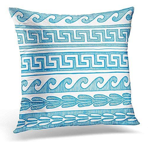 Niet geschikt kussen overtrek, Border Meander Wave en andere antieke Griekenland in blauwe inktstijl op witte Griekse zachte kussenslopen voor het slapen in het trechter.