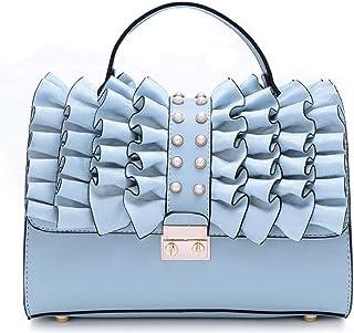 Trendy Ladies Fashion Handbag Retro Shoulder Bag Large Capacity Shoulder Bag Zgywmz (Color : Blue, Size : 26 * 11 * 17cm)