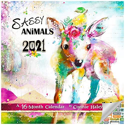 Connie Haley Watercolor 2021 Set - Deluxe 2021 Watercolor Animals Wall Calendar with Over 100 Calendar Stickers (Sassy Watercolor Animals - Connie Haley Gifts, Office Supplies)
