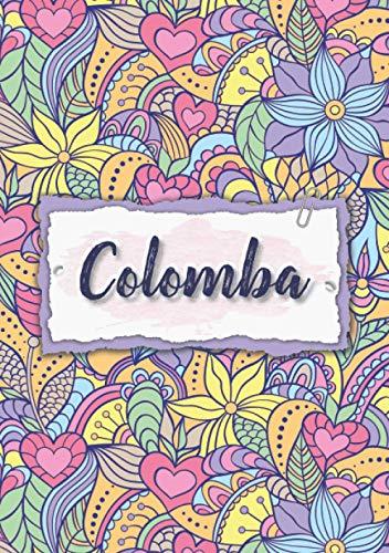 Colomba: Cuaderno A5 | Nombre personalizado Colomba | Regalo de cumpleaños para la esposa, mamá, hermana, hija | Diseño : floral | 120 páginas rayadas, formato A5 (14.8 x 21 cm)