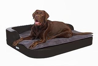 DoggyBed¨ Orthopädisches Luxus Hundebett Hundekorb Visco Schaumstoff-Füllung Kunstleder in 3 Farben, M-XXL Plus gratis Decke
