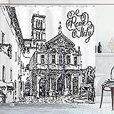 CAIQ 60X72inch Italia Cortina de Ducha Vintage Famoso Paisaje Urbano de Roma Ilustración H Dibujo Boceto Patrón Imprimir Tela de Tela Baño Decoración Set con Ganchos