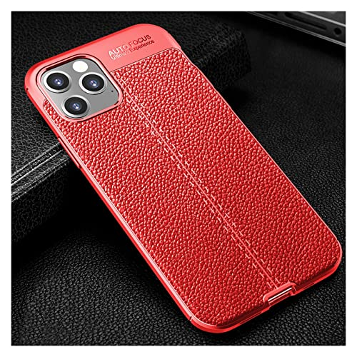 DSMYYXGS Custodia in Pelle Texture Litchi for iPhone 13 12 Mini 11 PRO Max XR XS SE2020 7 8 Plus Ultra Thin Phone Coque Soft Amourt Antifondi (Color : Red, Material : for iPhone 12)