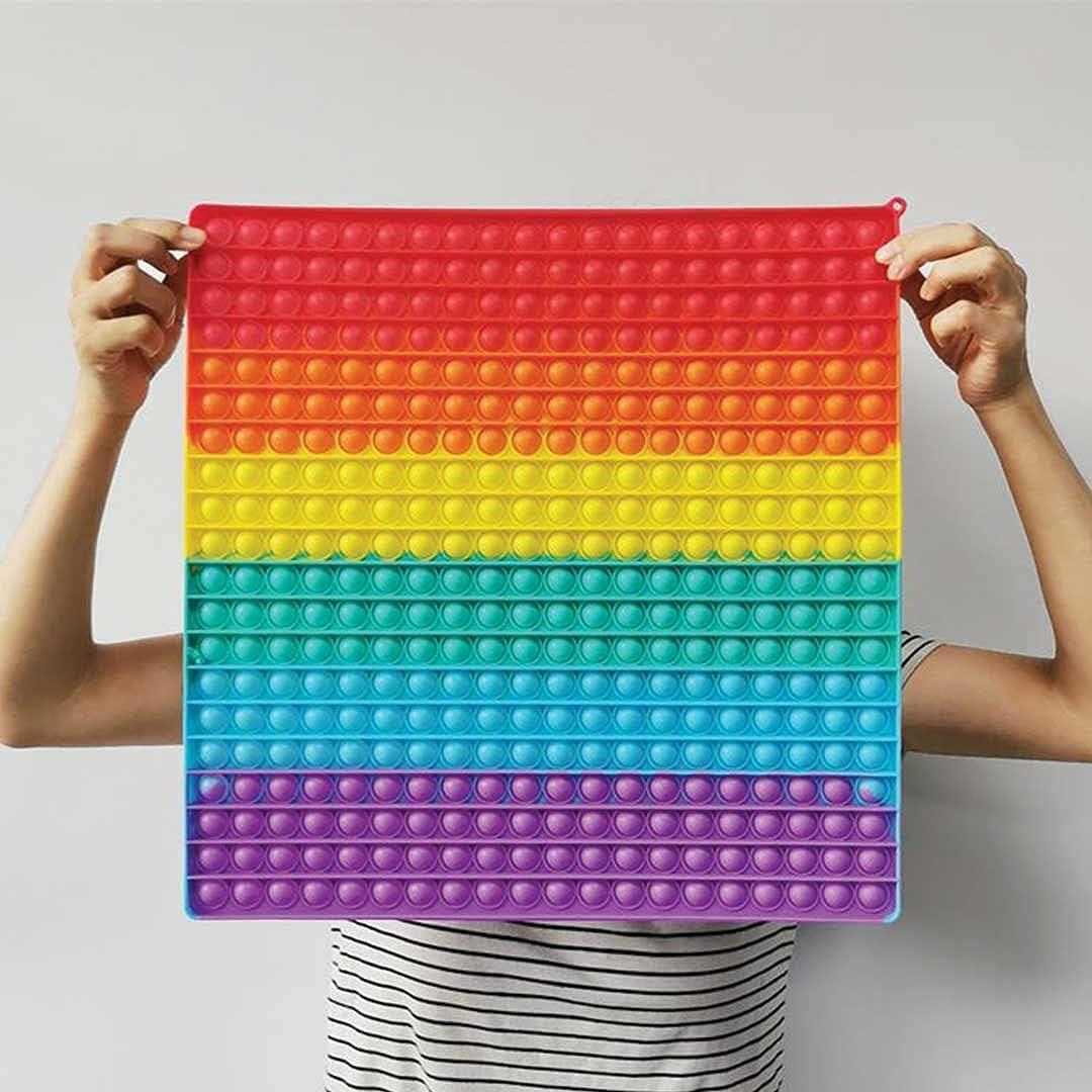 HojiToys- Jumbo Pop It 400 Bubbles Worlds Biggest Huge Rainbow P