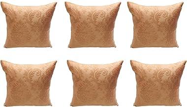 Sleep Well 6PC/Set Home Decorative Pillowcase Cotton Linen Sofa Cushion Throw Pillow Cover (Golden-Brown, 40 x 40 cm)