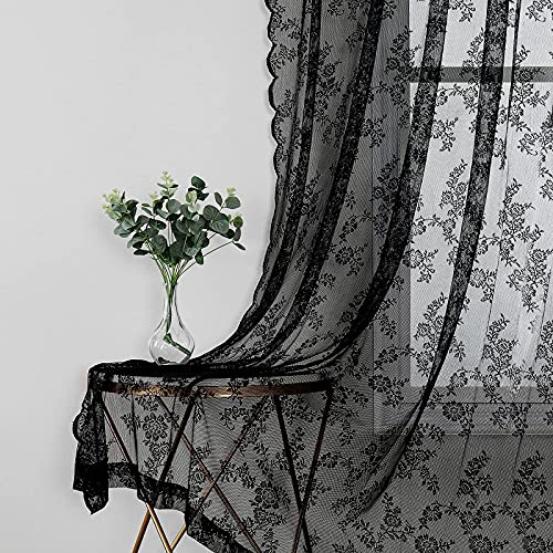 """Black Sheer Curtains 95 Inches Long for Living Room Divider Set of 2 Lace Panels Light Filtering & Privacy Rod Pocket Window Drapes Vintage Floral Lace Embroidered Curtains for Guest Bedroom, 55""""w"""