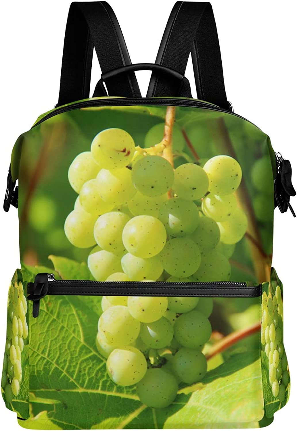 MONTOJ Green Fresh Grapes Picture Leather Travel Bag Campus Backpack