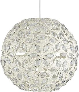 MiniSun - Moderna pantalla metálica 'Marrakech', para lámpara de techo de estilo marroquí, en color crema y forma de globo