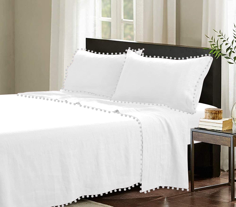 Idle excellence Decor Luxurious 4 Finally resale start Piece Pom Pock Inch Sheet Deep Set 10
