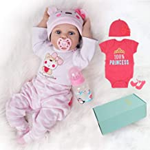 Yesteria Lifelike Reborn Baby Dolls Girl 2 Outfits 22 Inches Silicone Vinyl Newborn Light Pink and Dark Pink