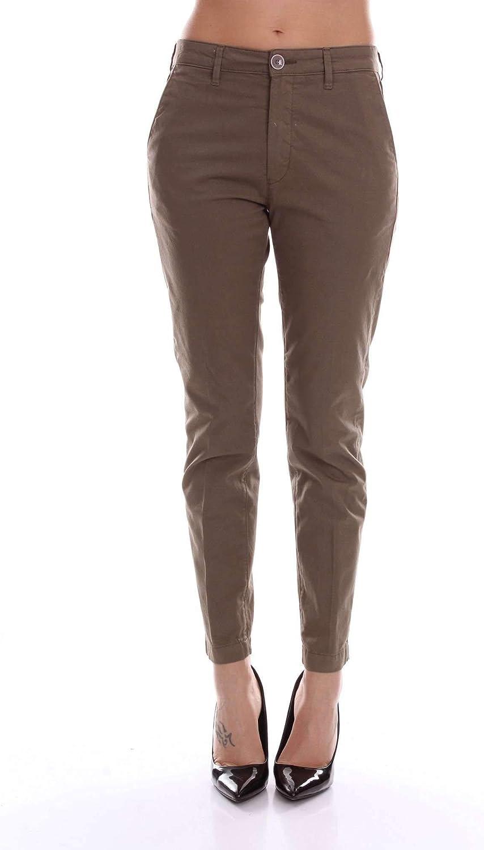 Barba Women's 8419ELLENGREENARMY Green Cotton Pants