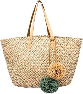 Straw Bag Ladies Handbag Straw Wallet Trend New Ladies Vacation Backpack Bohemian Beach Bag (Color : Natural, Size : 60 * 30 * 18cm)