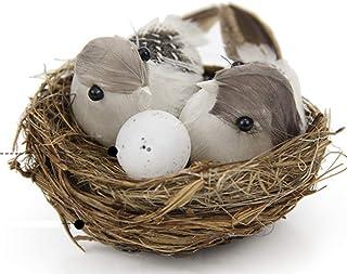 LABAICAI Set of Bird Nest Bird Eggs Couple Tiny Birds Statues with Feathers for Crafts Garden Decor Outdoor Landscape Figu...