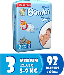 Sanita Bambi Baby Diapers Mega Pack Size 3, Medium, 5-9 KG, 92 Count