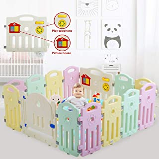 14 Panel Baby Playpen Kids Activity Centre Safety Play Yard,Home Indoor Outdoor Foldable Portable Baby Fence,New Pen with Lock Gate & Anti-Slip Base for Toddler 6 Months-5 Years Old (Adjustable Shape)
